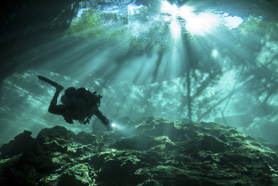 Diver Passes Through Light Beams in Chac Mool Cenote in Mexico Photographic Print
