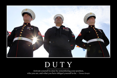 Duty: Inspirational Quote and Motivational Poster Photographic Print