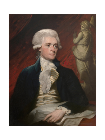 Vintage American History Painting of President Thomas Jefferson Art