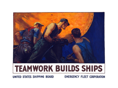 World War II Propaganda Poster of a Team of Men Riveting the Hull of a Ship Prints
