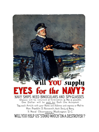 Vintage World War I Propaganda Poster Featuring a Blindfolded Ship Captain Posters
