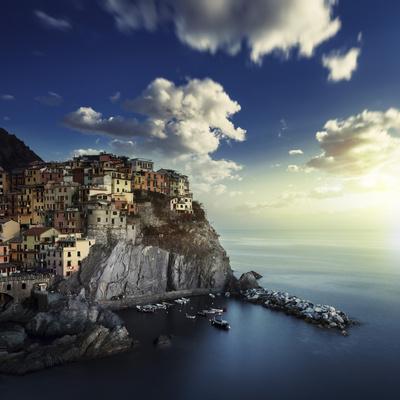 View of Manarola on the Rocks at Sunset, La Spezia, Liguria, Northern Italy Photographic Print