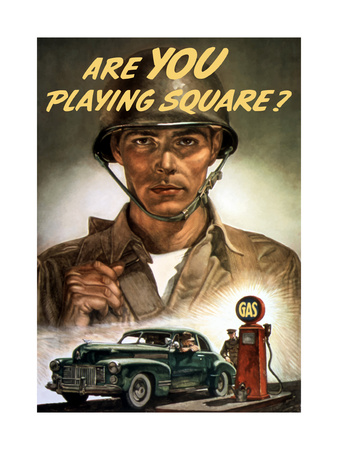 World War II Propaganda Poster of a Soldier Overlooking a Man at the Gas Pump Posters