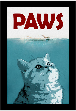 Paws: the cat movie poster, jaws spoof poster