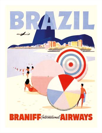 Rio de Janeiro Brazil - Braniff International Airways Giclee Print