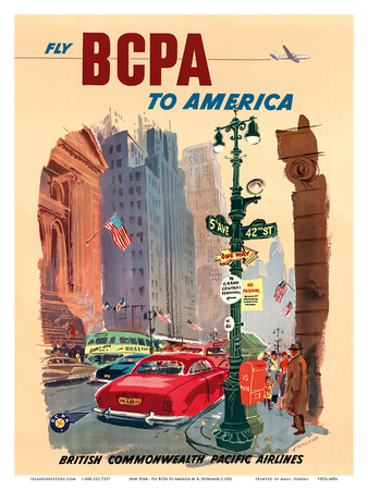 New York City - Fly BCPA to America - British Commonwealth Pacific Airline Print by K. Howland