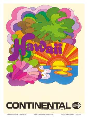 Hawaii - Continental Airlines - Psychedelic Art Prints