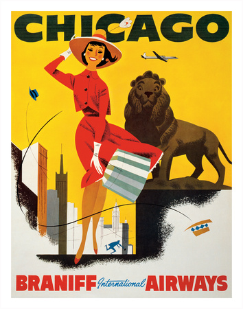 Chicago the Windy City - Braniff International Airways Giclee Print