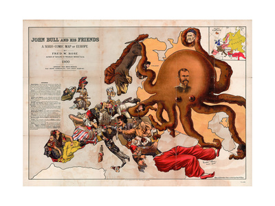 Satirical Map - John Bull and His Friends a Serio-Comic Map of Europe Giclee Print by Fred W Rose