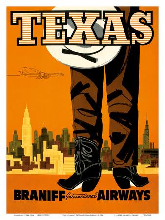 Texas - Braniff International Airways - Cowboy Prints