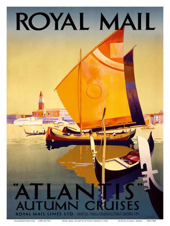 Atlantis Autumn Cruises - Royal Mail Ltd. Prints by Percy Padden