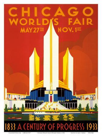 Chicago World's Fair - A Century of Progress, 1833-1933 Affischer