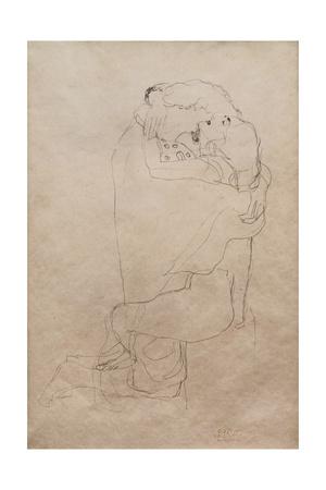 Kneeling Man and Seated Woman Embracing Giclee Print by Gustav Klimt
