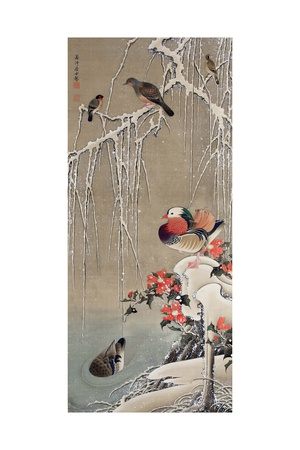 Mandarin Duck in the Snow 1 Giclee Print by Jakuchu Ito