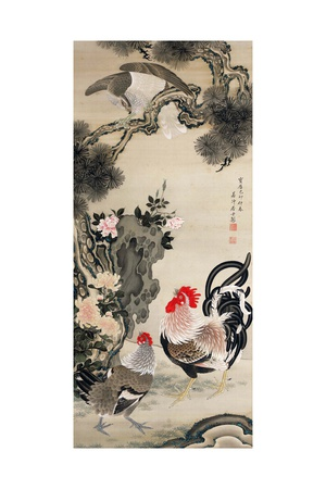 Rooster, Hen and a Falcon Giclee Print by Jakuchu Ito