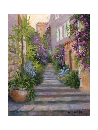 Stairway of Flowers Print by Mary Jean Weber