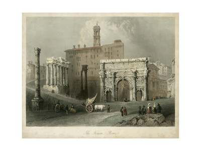 The Forum- Rome, Italy Poster by William Henry Bartlett
