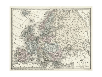 Mitchell's Map of Europe Prints