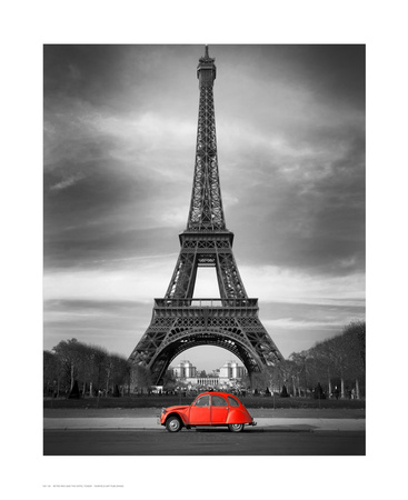 Retro Red and the Eiffel Tower Affiches