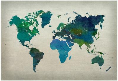World Map Watercolor (Cool) Plakát