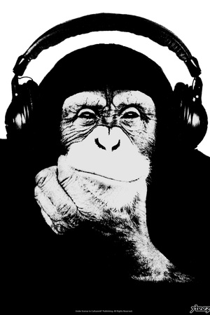 Steez Monkey Headphones BW Poster Posters