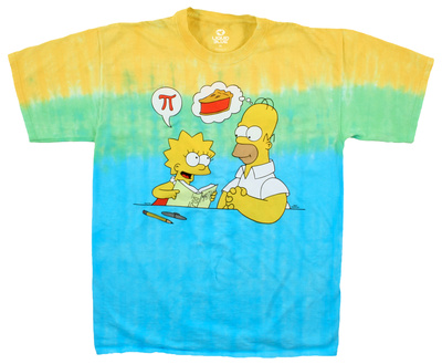 The Simpsons Lisa and Homer Pi humor t-shirt, yellow and green and blue shirt