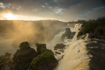 Iguazu Falls at Sunset with Salto Mbigua in the Foreground Photographic Print by Alex Saberi