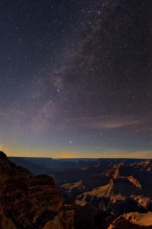 The Setting Moon Illuminates the Milky Way over the Grand Canyon Photographic Print by Babak Tafreshi