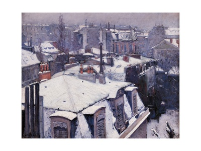 Rooftops under the Snow, Paris Prints by Gustave Caillebotte