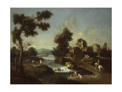 Landscape with Road, Cottages and Man Riding Art by Giuseppe Zais