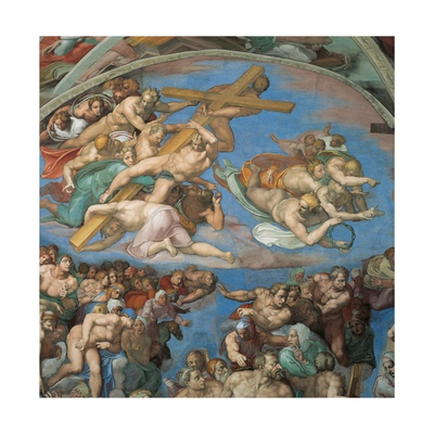 Sistine Chapel, the Last Judgment, Instruments of Christ's Passion Posters by  Michelangelo Buonarroti