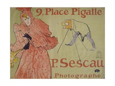Place Pigalle (Advertisement for Photographer Paul Sescau) Láminas por Henri de Toulouse-Lautrec