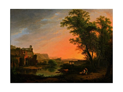 Town with Water, Lush Vegetation and Ruins of a Castle at Sunset Art by Marco Gozzi