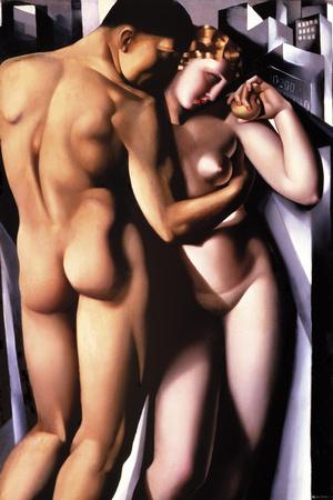 Eva und Adam Giclée-Druck von Tamara de Lempicka