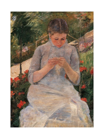 Woman Sewing Poster by Mary Cassatt