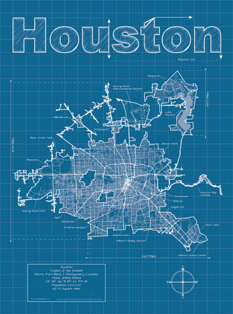 Houston Artistic Blueprint Map Posters by Christopher Estes