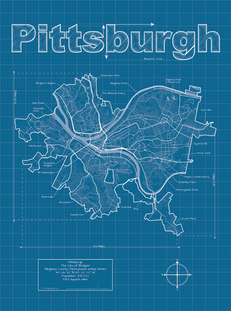 Pittsburgh Artistic Blueprint Map Prints by Christopher Estes