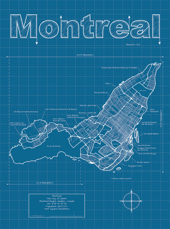 Montreal Artistic Blueprint Map Prints by Christopher Estes