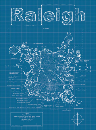 Raleigh Artistic Blueprint Map Art by Christopher Estes