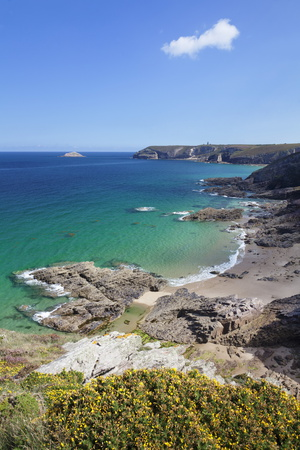 View Along the Cliffs of Cap Frehel to the Lighthouse, Cotes D'Armor, Brittany, France, Europe Stampa fotografica di Markus Lange