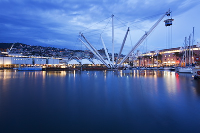 The Bigo with Lift Raised in the Old Port at Dusk, Genoa, Liguria, Italy, Europe Photographic Print by Mark Sunderland