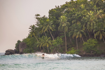 Surfer Surfing at Sunset at Mirissa Beach, South Coast, Sri Lanka, Southern Province, Asia Photographic Print by Matthew Williams-Ellis