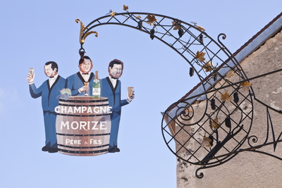 A Sign in the Village of Les Riceys for Morize Pere Et Fils Champagne Photographic Print by Julian Elliott