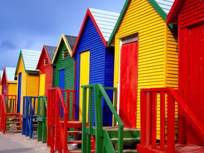 Beach Huts, Fish Hoek, Cape Peninsula, Cape Town, South Africa, Africa Fotografie-Druck von Gavin Hellier