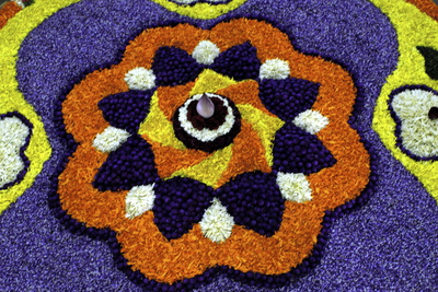 Floral Decorations During Onam Festival, Kerala, India, Asia Photographic Print by Balan Madhavan