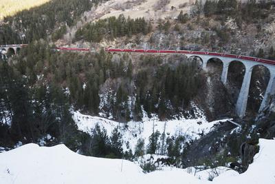 Landwasser Viaduct, Bernina Express Railway Line, UNESCO World Heritage Site Photographic Print by Christian Kober