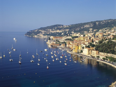 Sailing Boats Off the Coast of Villefrance-Sur-Mer, Provence, France Photographic Print by Robert Harding