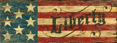 Liberty Red, White, Blue Flag Vintage Wood Sign Wood Sign