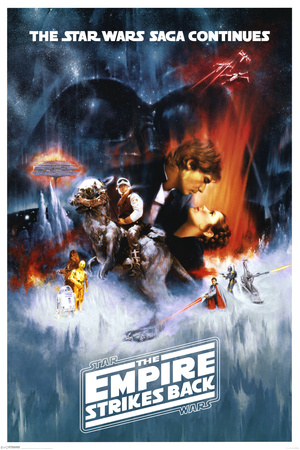 Star Wars Episode 5 The Empire Strikes Back han solo princess leia luke skywalker movie poster cover art