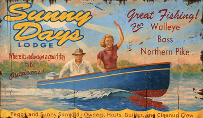 Sunny Day Lodge Lake Resort Vintage Wood Sign Wood Sign